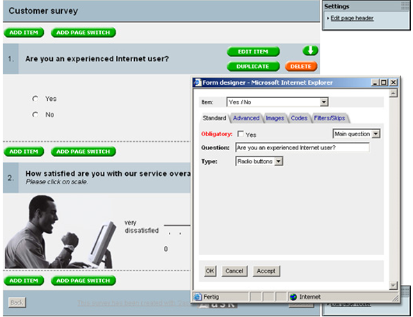 2ask features create your own online survey questionnaire inquiry